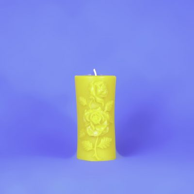 Beeswax Decorative Rose Pillar Candle