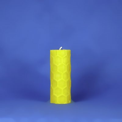 "Beeswax 2.25"" x 6"" Hexagon Embossed Pillar Candle"