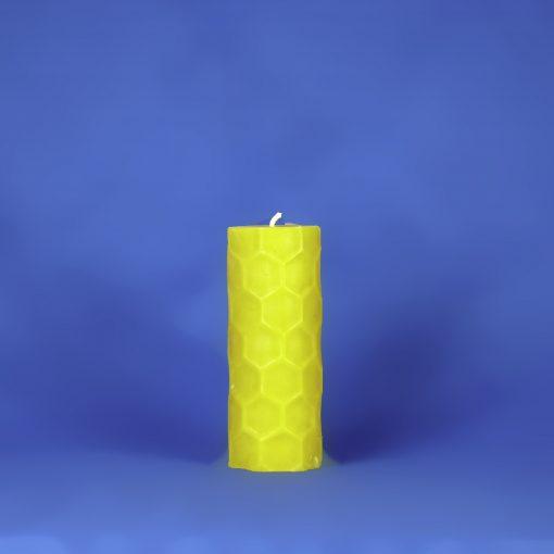 "Beeswax 2.25"" x 6"" Hexagon Embossed Pillar Candle"