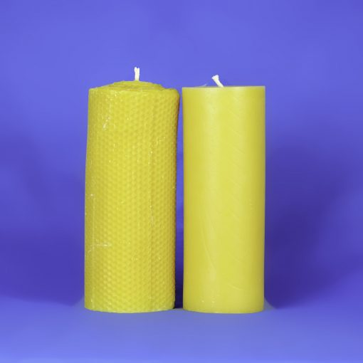 "Beeswax Solid 3"" x 8"" Honeycomb Pillar Candle"