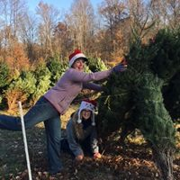 Sarah and Melissa setting up Christmas Trees